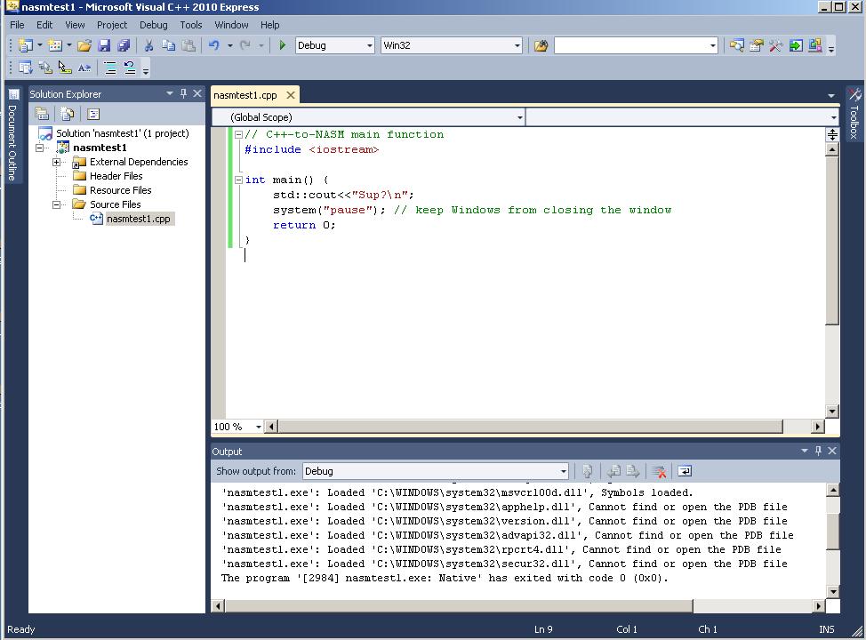 Visual C++ 2010 & NASM