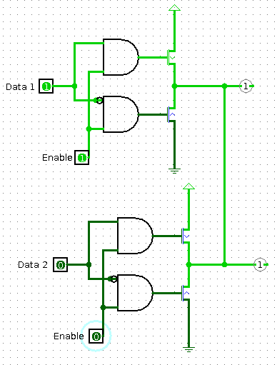 Circuit diagram for tri-state buffer drivers