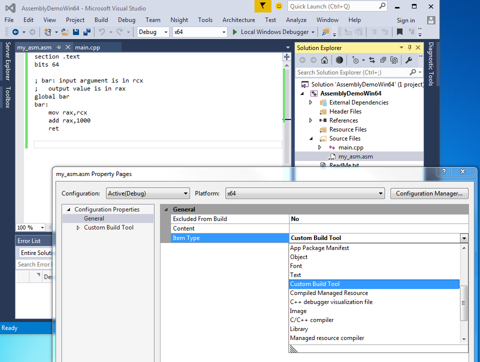 Visual C++ 2015 & NASM