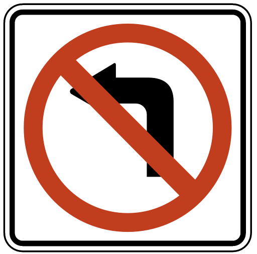 US Road Signs: No left turn (regulatory)
